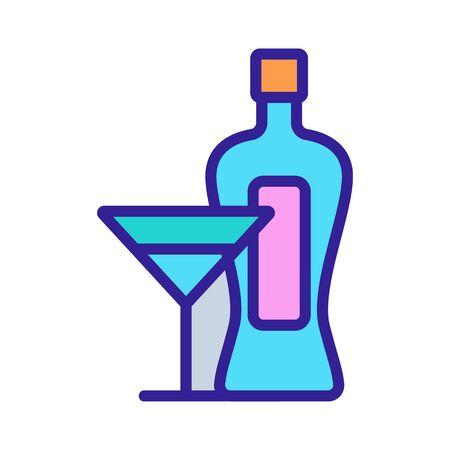 Martini bottle glass icon vector. Martini bottle glass sign. color contour symbol illustration