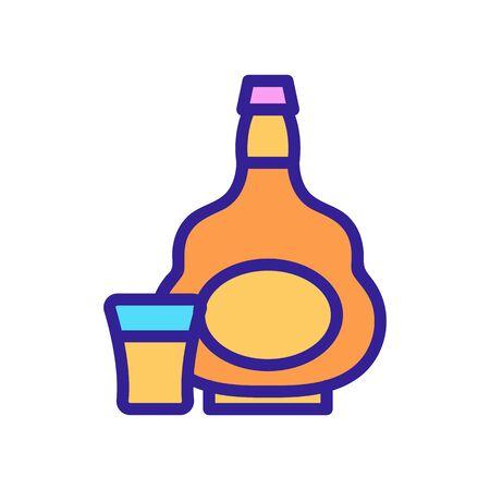 cognac bottle glass icon vector. cognac bottle glass sign. color contour symbol illustration