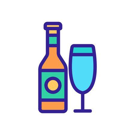 wine bottle glass icon vector. wine bottle glass sign. color contour symbol illustration