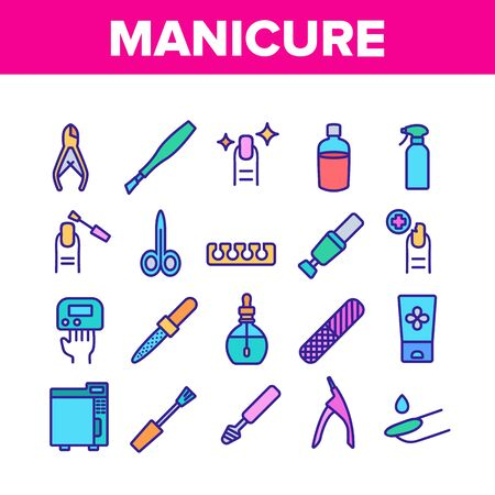Manicure And Pedicure Equipment Icons Set Vector. Manicure Tool, Nail Polish And Scissors, Cream And Tweezers, Rasp And Cuticle Nipper Concept Linear Pictograms. Color Illustrations
