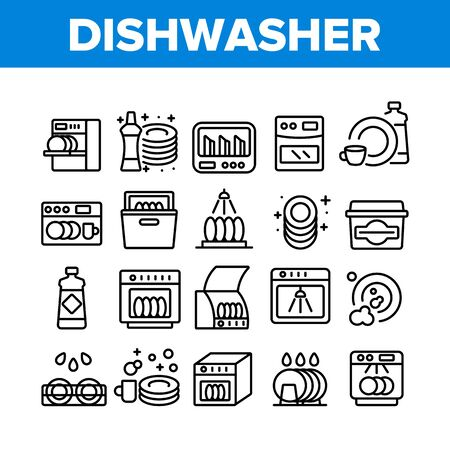 Dishwasher Utensil Collection Icons Set Vector. Dishwasher Equipment And Cleaning Liquid Bottle For Wash Dishware Cup And Plate Concept Linear Pictograms. Monochrome Contour Illustrations Vector Illustratie