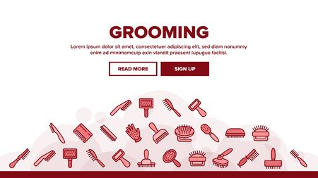 Grooming Brush For Pet Landing Web Page Header Banner Template Vector. Grooming Care Accessory In Different Form, Animal Cleaning Comb Tool Illustrations Stock Illustratie