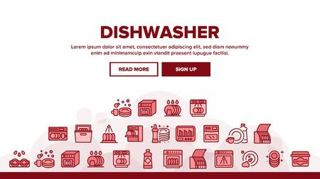Dishwasher Utensil Landing Web Page Header Banner Template Vector. Dishwasher Equipment And Cleaning Liquid Bottle For Wash Dishware Cup And Plate Illustrations