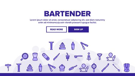 Bartender Equipment Landing Web Page Header Banner Template Vector. Bartender Shaker And Bucket With Ice, Opener And Corkscrew, Juicer And Spoon Illustrations