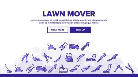 Lawn Mover Landing Web Page Header Banner Template Vector. Garden Scissors And Electronic Device For Cutting, Lawn Mover And Manual Cutter Illustrations Illustration