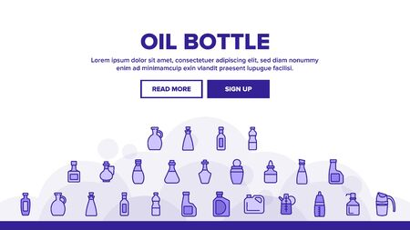 Oil Bottle Package Landing Web Page Header Banner Template Vector. Oil Bottle With Pump And Measuring Scale, Amphora And Classical Form Container Illustrations