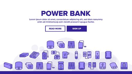 Power Bank Device Landing Web Page Header Banner Template Vector. Power Bank Electronic Equipment For Charging Smartphone And Photo Camera, Portable Charger Illustrations
