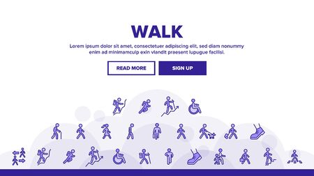 Walk People Motion Landing Web Page Header Banner Template Vector. Human Walk With Dog And Luggage, With Case And Backpack, Crosswalk And Stairs Illustrations