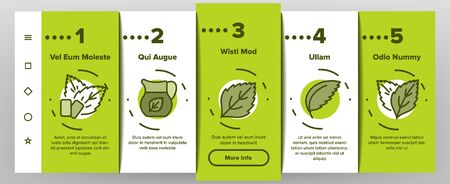 Mint Refreshing Leaf Onboarding Icons Set Vector. Mint Drink And And Cake, Ice Cream And Bubble Gum, Tea And Cocktail, Candy And Water Illustrations