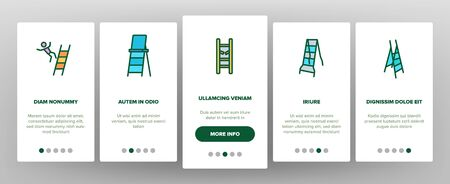 Ladder And Staircase Onboarding Icons Set Vector. Tall And Low, Wooden And Metallic Ladder, Human Falling Down From Equipment Illustrations