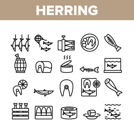 Herring Marine Fish Collection Icons Set Vector. Herring Sliced Piece And Fillet, Skeleton And Carcass, Cooked And Frozen, Package And Box Concept Linear Pictograms. Monochrome Contour Illustrations Vettoriali