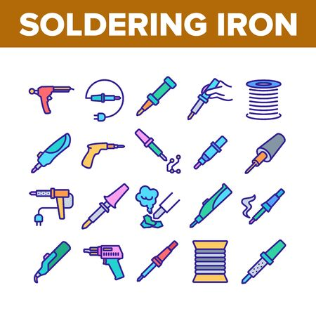 Soldering Iron Device Collection Icons Set Vector. Electronic Equipment And Reel With Metallic Material Cord For Soldering Concept Linear Pictograms. Color Illustrations