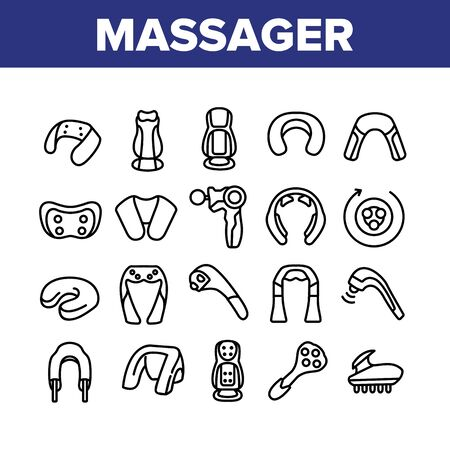 Shoulder Massager Collection Icons Set Vector. Body And Foot Massager Equipment For Relaxation, Electric Wearable Pulse Neck Device Concept Linear Pictograms. Monochrome Contour Illustrations