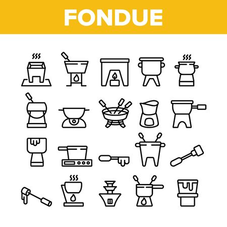 Fondue Pot Equipment Collection Icons Set Vector. Fondue Device For Cooking Melted Cheese Dish, Kitchen Utensil And Skewer Concept Linear Pictograms. Monochrome Contour Illustrations