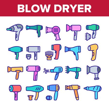 Blow Dryer Device Collection Icons Set Vector. Hair Dryer With Different Nozzles Electronic Equipment, Hairdresser Blower Tool Concept Linear Pictograms. Color Illustrations
