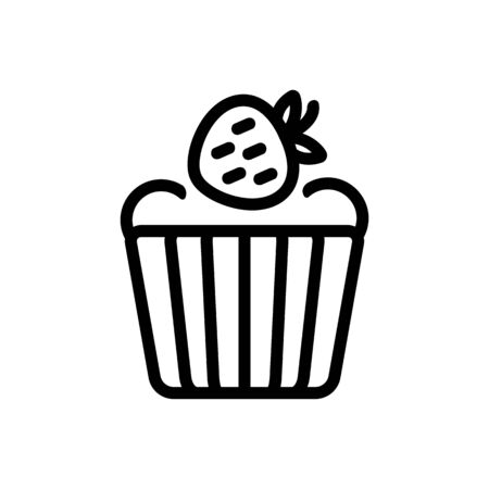 strawberry baked goods icon vector. strawberry baked goods sign. isolated contour symbol illustration