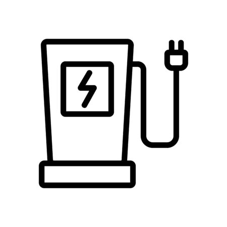 electric gas station icon vector. electric gas station sign. isolated contour symbol illustration