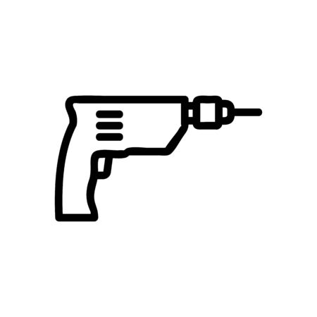 hammerless drill icon vector. hammerless drill sign. isolated contour symbol illustration