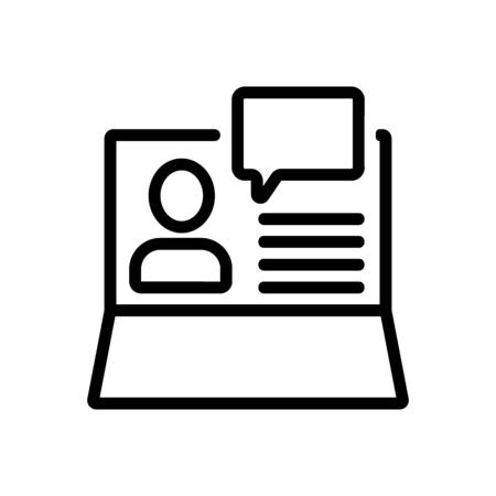 computer information about person icon vector. computer information about person sign. isolated contour symbol illustration Иллюстрация