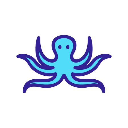 squid with long tentacles icon vector. squid with long tentacles sign. color symbol illustration