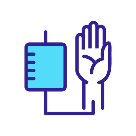blood sampling from human hand icon vector. blood sampling from human hand sign. color symbol illustration
