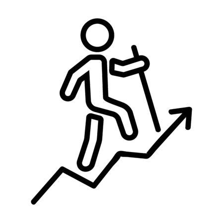 man heading up career ladder icon vector. man heading up career ladder sign. isolated contour symbol illustration