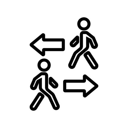 going in opposite directions walking people icon vector. going in opposite directions walking people sign. isolated contour symbol illustration