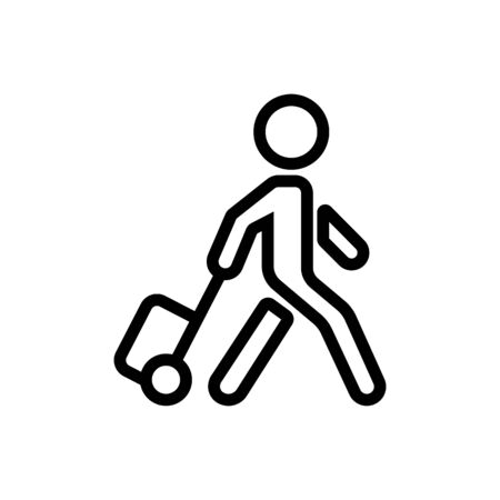 moving man with suitcase on wheels icon vector. moving man with suitcase on wheels sign. isolated contour symbol illustration
