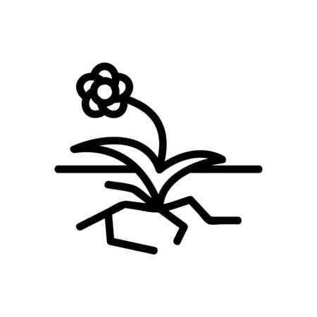 flower growth on asphalt road icon vector. flower growth on asphalt road sign. isolated contour symbol illustration