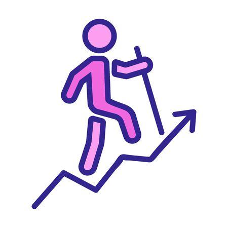 man heading up career ladder icon vector. man heading up career ladder sign. color symbol illustration Иллюстрация