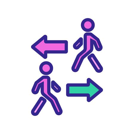 going in opposite directions walking people icon vector. going in opposite directions walking people sign. color symbol illustration