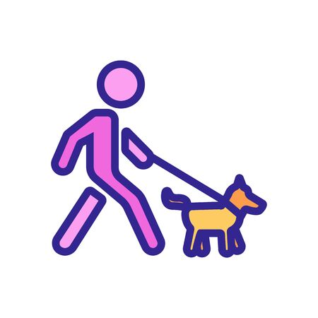 walking man with dog on leash icon vector. walking man with dog on leash sign. color symbol illustration Stock Illustratie