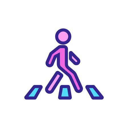 moving man on pedestrian crossing icon vector. moving man on pedestrian crossing sign. color symbol illustration