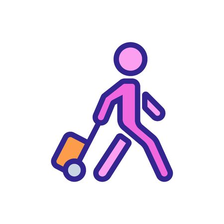 moving man with suitcase on wheels icon vector. moving man with suitcase on wheels sign. color symbol illustration