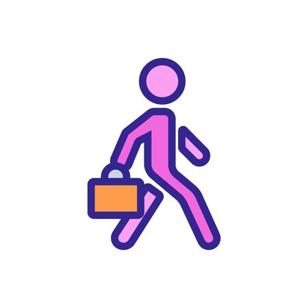 moving man with working suitcase icon vector. moving man with working suitcase sign. color symbol illustration