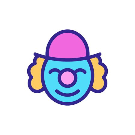 happy elderly clown in hat icon vector. happy elderly clown in hat sign. color symbol illustration
