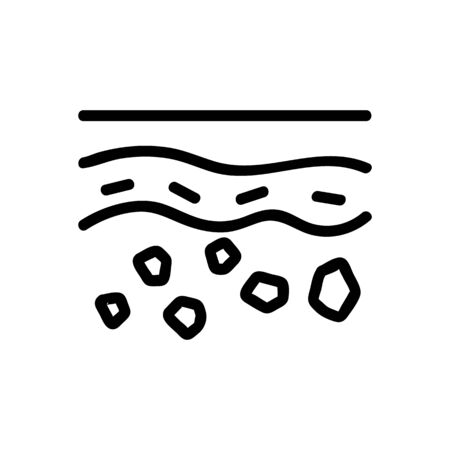 deep layer of stones in soil icon vector. deep layer of stones in soil sign. isolated contour symbol illustration