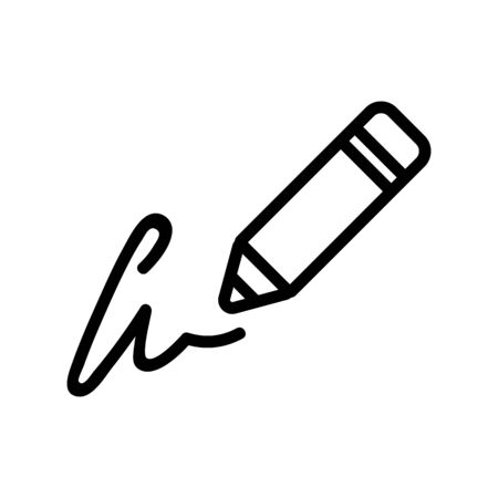 writing signature in pencil icon vector. writing signature in pencil sign. isolated contour symbol illustration