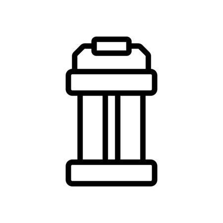 portable lamp with wooden handle icon vector. portable lamp with wooden handle sign. isolated contour symbol illustration