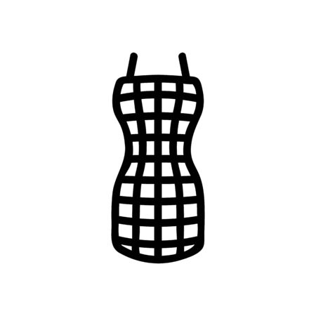 hostess checkered kitchen apron icon vector. hostess checkered kitchen apron sign. isolated contour symbol illustration Ilustracja