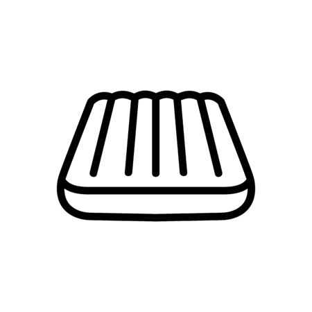 inflatable swimming mattress angled view icon vector outline illustration