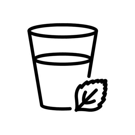 mint drink in glass icon vector. mint drink in glass sign. isolated contour symbol illustration