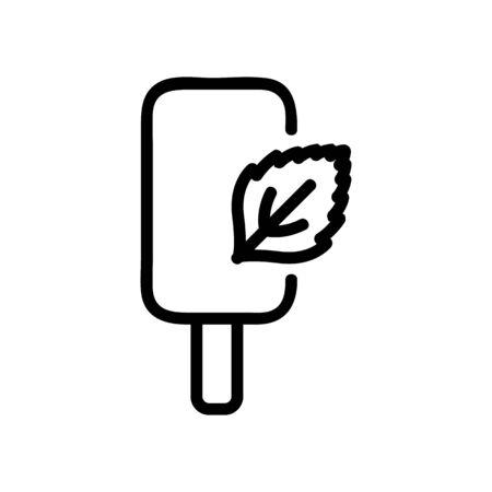 ice cream on stick with mint icon vector. ice cream on stick with mint sign. isolated contour symbol illustration