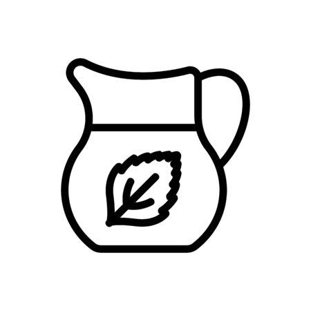 mint refreshing drink in jug icon vector. mint refreshing drink in jug sign. isolated contour symbol illustration Illustration