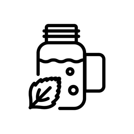 peppermint extract in bottle icon vector. peppermint extract in bottle sign. isolated contour symbol illustration Illustration