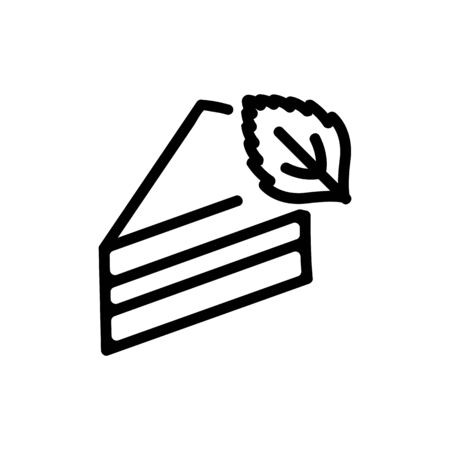 piece of cake with mint icon vector. piece of cake with mint sign. isolated contour symbol illustration