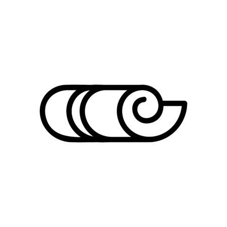 vecteur d'icône de tapis enroulé. signe de tapis enroulé. illustration de symbole de contour isolé