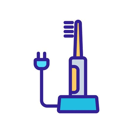electric toothbrush with wire icon vector. electric toothbrush with wire sign. color symbol illustration