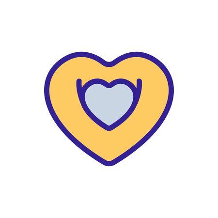 heart shaped swimming circle icon vector. heart shaped swimming circle sign. color symbol illustration