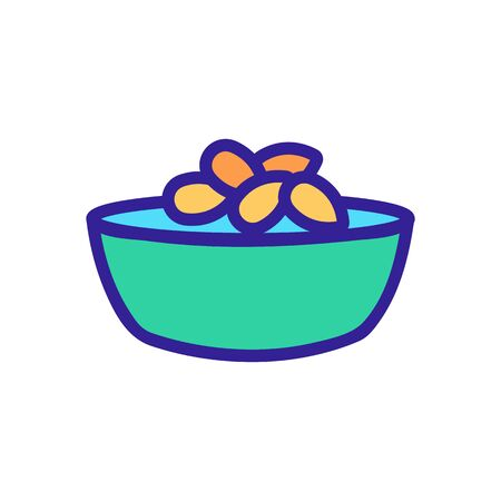 sunflower seeds in bowl icon vector. sunflower seeds in bowl sign. color symbol illustration